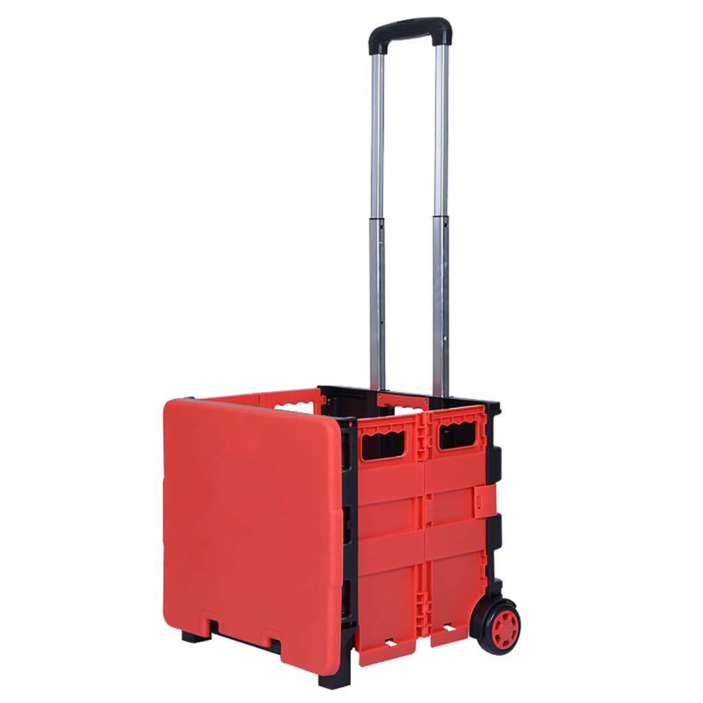 NUBAOgy ショッピングカートラダーショッピングカートスモールカート荷物トロリー折りたたみトレーラートロリートロリーホームポータブル (色 : Red) B07GXR355X Red