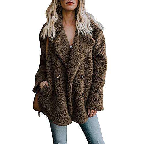 OUOK Women's Jackets Winter Women Cardigans Ladies Warm Jumper Fleece Faux Fur Coat Hoodie Outwear Blouson G XXL (Coat Fur Rabbit 3/4 Genuine)