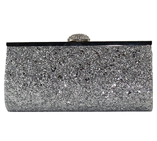 missfiona Sparkly Glitter Formal Clutch Purse Wedding Party Evening Bag for Women(Silver)