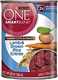 Purina ONE SmartBlend Wet Dog Food, Tender Cuts in Gravy Lamb & Brown Rice Entree, 13-Ounce Can, Pack of 12