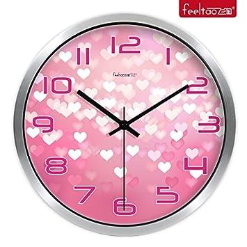 YROAR CLOCKS Romantische Hochzeit Uhren Runden Wanduhr Moderne Wohnzimmer  Uhr Creative Ultra Quiet Quarzuhr,