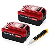 Powerextra 2 Pack 5.0Ah 20 MAX Lithium Replacement Battery for Porter Cable PCC685L PCC680L Porter Cable 20v Lithium Battery(with a free voltage tester pen)