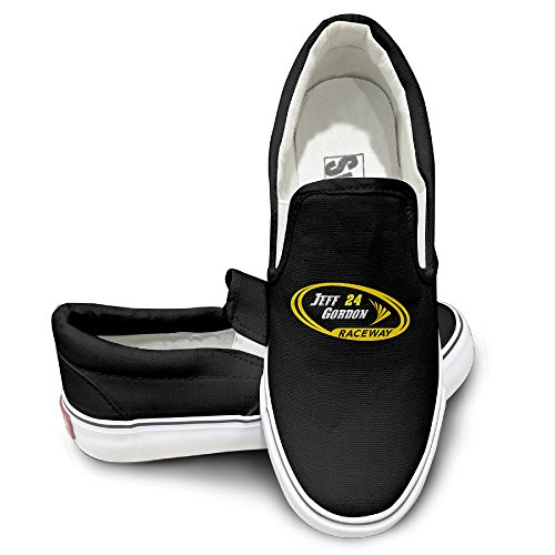 [Namii Gordon-nascar Unisex Canvas Flat Canvas Sneaker Shoes 42 Black] (Jimmie Johnson Costume Nascar)