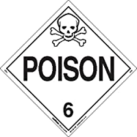 Labelmaster Z-EZ5 Poison Hazmat Placard, Worded, E-Z Removable Vinyl (Pack of 25)
