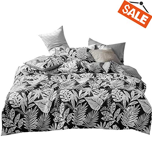 VClife Cotton Bedding Sets Queen Duvet Cover Sets Black White Reversible Stripe Bedding Collection Tropical Plant Palm Leaves Pattern Design Queen 1 Duvet Cover 2 Pillowcases for Boy Girl Teens