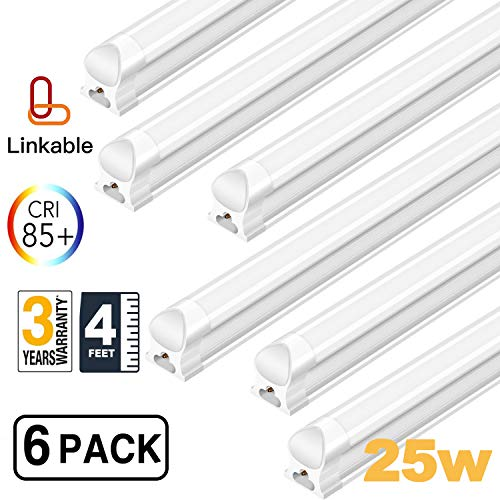 - AntLux Linkable 4FT LED Shop Lights for Garage, 25W T8 Integrated Strip Ceiling Light Fixtures, 2500lm, 5000K, Plug in with ON/Off Switch, Fluorescent Tube Replacement for Workshop Basement, 6 Pack