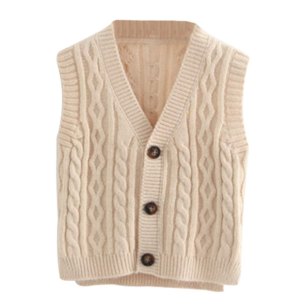 HODEZWU Autumn Boy Toddler Sleeveless Knit Cardigan,V-Neck Single-Breasted Sweater Vest,1T-3T,Beige