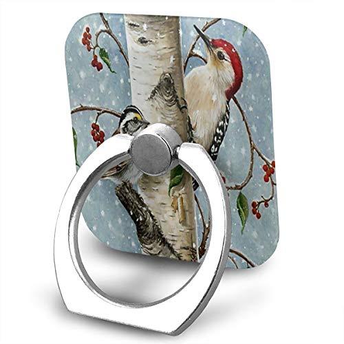 OSBLI Mobile Phone Finger Ring Stand Square Birch Tree 360°Rotation Multifunctional