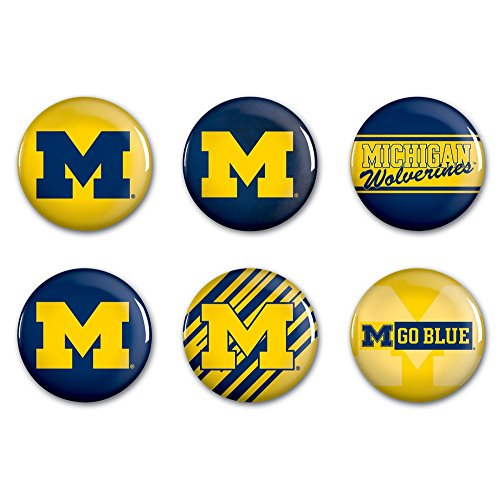 WinCraft NCAA University of Michigan WCR90393013 Round Button (6 Pack), 2'' by WinCraft