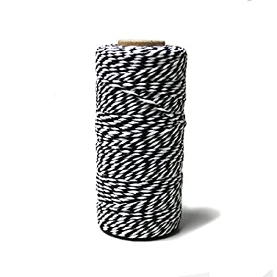 BakersTwine100YardCottonString2PlyCraftTwineforPackingGardeningandWrappingGifts (Black+White): Office Products