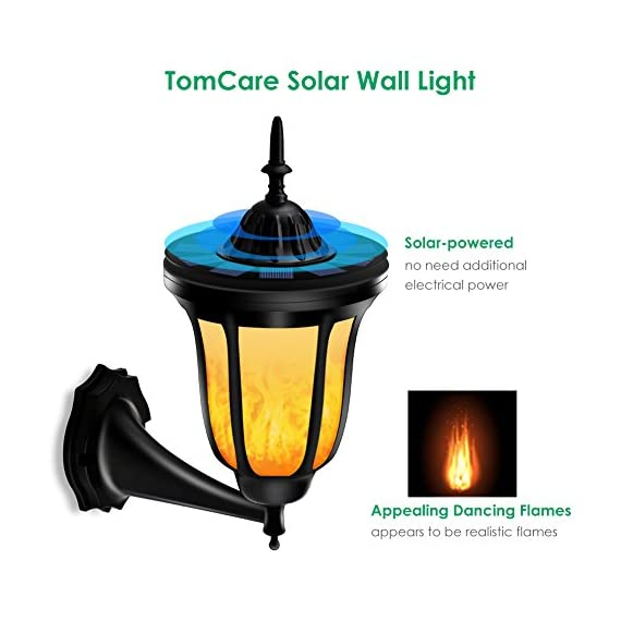 TomCare Solar Lights Solar Torches Lights Flickering Flames Wall Lights 96 LED Solar Wall Lights Outdoor Lighting Wireless Waterproof Wall Mounted Night Lights Lantern Design for Door Patio Yard(2) - Stylish Design - Special dancing flames, offering you a visual feast; The warm yellow colored light, adding a delightful glow all around. Also, the outer shape design is charming and fashionable, which is the best decoration for your house, garden and yard, etc. Solar-Powered & Energy-Saving - With built-in rechargeable battery, there is no need to use additional electrical tools. It is solar-powered, which can absorb solar energy and transfer it into electricity. Energy-saving and cost-efficient, ideal for use as outdoor lighting. Weather Resistant - Made of durable and weatherproof ABS plastic material, withstanding all weather conditions, no worries about raining, snowing and frosting. Suitable for outdoor lighting, which can be installed in your garden, pathway, driveway, backyard, etc. - patio, outdoor-lights, outdoor-decor - 512ewkeS82L. SS570  -