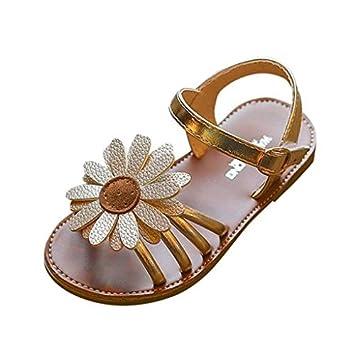 b864bb00f45da Morrivoe Baby Girls Leather Floral Roman Sandals Sneaker Sunflower Casual  Flat Anti-Slip Pricness Toddler Sandals