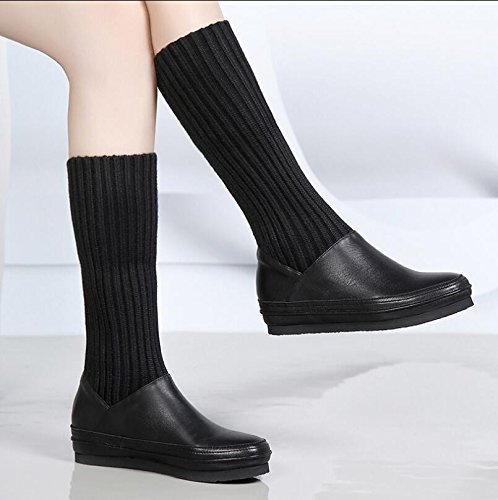 Cultivar Algodón Otoño Black Invierno De Y Y Base KHSKX El Invierno Botas Las Botas Una Con Mujeres Botas Para El Zapatos Plana B4xTqTUwfW
