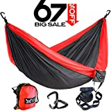 Winner Outfitters Double Camping Hammock With Tree Straps - Lightweight Nylon Portable Hammock, Best Parachute Double Hammock For Backpacking, Camping, Travel, Beach, Yard Charcoal/Red, 78