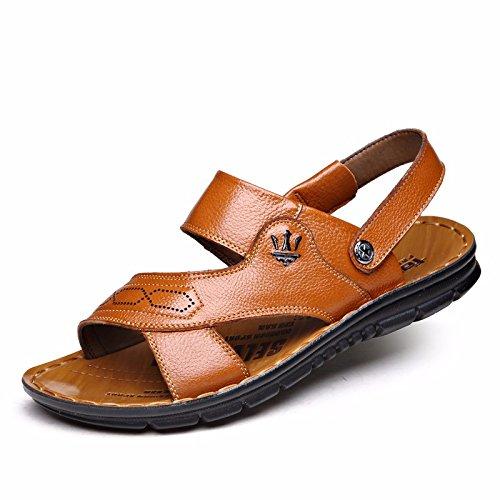 estate vera pelle sandali Uomini Spiaggia scarpa Uomini sandali Uomini scarpa traspirante Tempo libero scarpa Uomini tendenza ,gialloD,US=8.5,UK=8,EU=42,CN=43