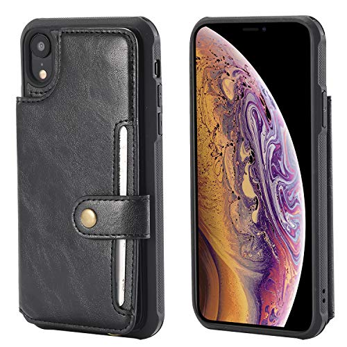 Wallet Case for Apple iPhone XR 6.1inches Apple,Card Cash Holder PU Leather Hand Strap Magnetic Snap Protective Cover Durable Shell Kickstand Soft Black Men Women ()