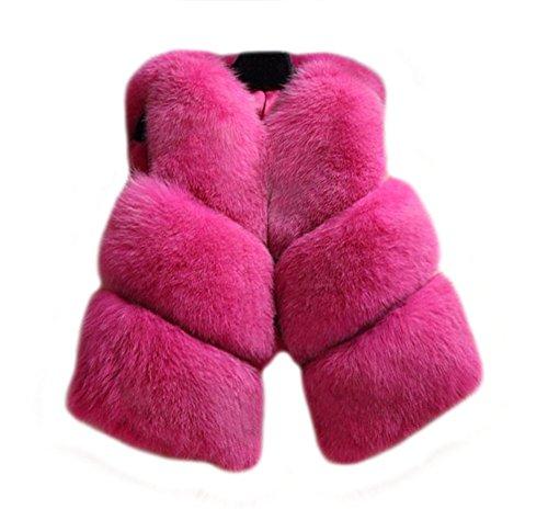 机用量穿孔するTortor 1Bacha レディース ラクーンファー 皮革 レザー 毛皮 ベスト チョッキ コート アウター 贅沢 おしゃれ (2XL, バラ色)