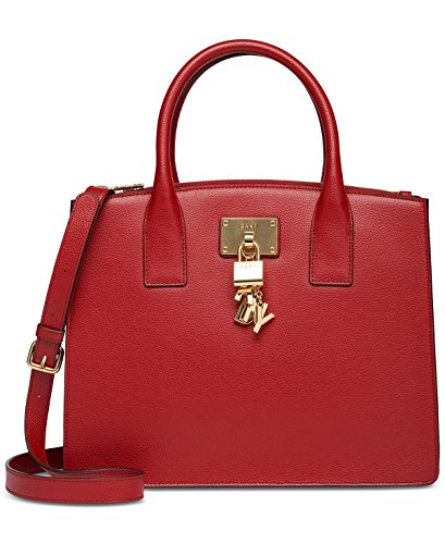 Dkny Red Leather - DKNY Elissa Pebbled Split with Charm Detail Large Satchel (Red)