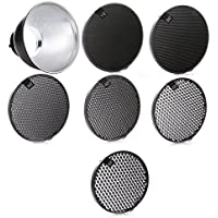 Fotga 6.8 Inner Dia Standard Reflector Diffuser Lamp Shade Dish with 10°/20°/30°/40°/50°/60° Honeycomb Grid for Bowens Mount Studio Strobe Flash Speedlite Light