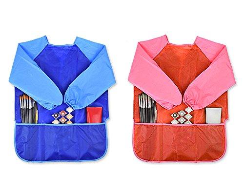 DSstyles Wasserdichter Kinder Malschürze mit langen Ärmeln für Schule und Freizeit, 2 Stück Kunstkittel Malkittel (Blau und Rot)