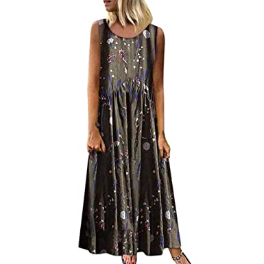 db2f4711272fd Maxi Dresses for Women Summer Dresses Casual Sleeveless Printed Dress Loose  Swing Boho Beach Long Maxi