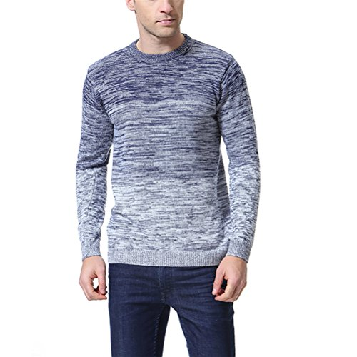 Mens Sweater Crewneck New - AOWOFS Men's Pullover Knitted Sweater Crewneck Long Sleeve Gradient Color Slim Fit Blue