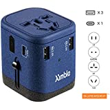 Universal World Travel Adapter with Multi-plugs and Universal Socket, AC-DC Conversion, USB-A Ports X 3 and USB-C Ports X 1 | UNIQUE FEATURE SuperGrip(TM) Finish |