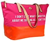Kate Spade New York Call To Action Small Coal PXRU4110 Tote,I Dont Care What Is Written,One Size, Bags Central
