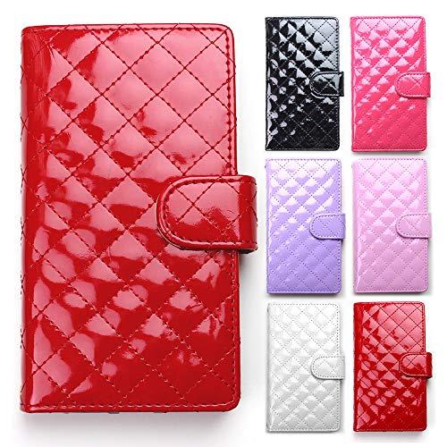 モシモシ スマホケース 全機種対応 エナメル キルティング 手帳型 レッド iphone8