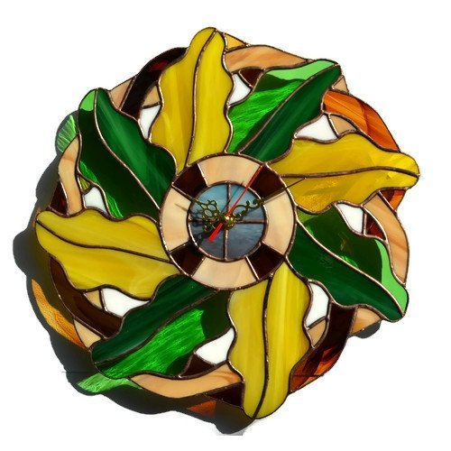 Stained Glass Wreath - Autumn oak leaves wreath wall clock made of stained glass
