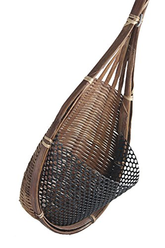 ThaiM Hanging Flower Pots Garden Decorative Bamboo Woven (Dark (Midnight Bride Purse)