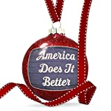 Christmas Decoration America Does It Better Fourth of July Blue and White Wood Planks Ornament