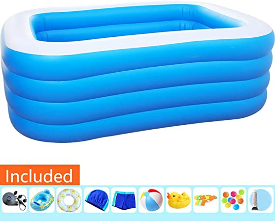 Li Piscina Hinchable Rectangular Piscina Desmontable Piscina Familiar Rectangular Piscina Extra Grande Infantil 4 Aros Piscina De PVC Plegable Inflable Gruesas,201×156×80cm/6.59×5.11×2.62ft: Amazon.es: Hogar