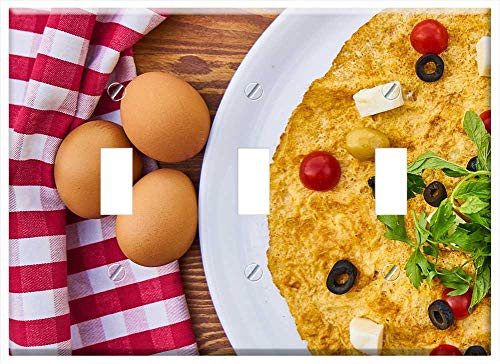 (Switch Plate Triple Toggle - Omelet Egg Breakfast Fresh Healthy)