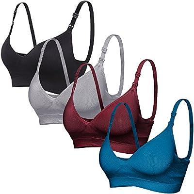 CooShco 3Pack I Women's Seamless Nursing Maternity Bra Push Up Comfort Sleep Bralette