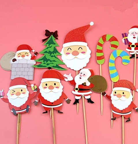 UChic 10PCS Christmas Series Theme Cupcake Topper Pick Cartoon Cake Toppers Cupcake Inserts Card Christmas Party Gifts For Kids