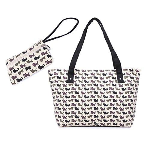 WongSinTong Women Large Canvas Handbag Tote Cat Printed Cute Shoulder Bag and Wallet 2 Piece Sets (Tote Bag Wallet Purse)