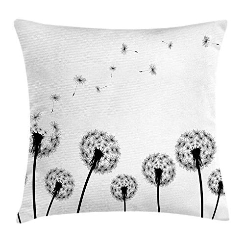 (YVSXO Dandelion Throw Pillow Cushion Cover, Monochrome Black Flower Silhouettes Wind Effect Blowball Plant Pollens Nature, Decorative Square Accent Pillow Case, 18 X 18 inches, Black White)