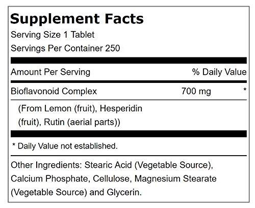 Lindberg Lemon Bioflavonoid Complex 700 mg with Hesperidin and Rutin, Vegetarian, 250 Tablets