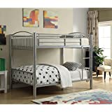 Major-Q Modern Silver Finish Metal Tube Supported Full over Full Bunk Bed with Built-In Front Ladder & Guard Rail (7037390SI)