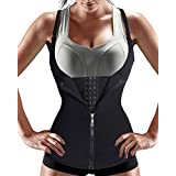 Nebility Women Waist Trainer Corset Zipper Vest Body Shaper Cincher Tank Top with Adjustable Straps (L, Black)