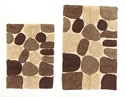 Cotton Craft - 2 Piece Bath Rug Set - Pebbles Stones with Spray Latex Back - Brown Multi - 100% Pure Cotton and absorbent - Super Soft and Plush - Hand Tufted Heavy Weight Durable Construction - Larger Rug is 21x32 Oblong and Second Rug is Oblong 18x24 - Easy care machine (Bath Rug Sets 2 Piece)