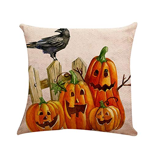 Halloween Clearance, Pumpkin Cushion Cover Square Pillow Case Halloween Home Decor 45cm45cm (D) ()