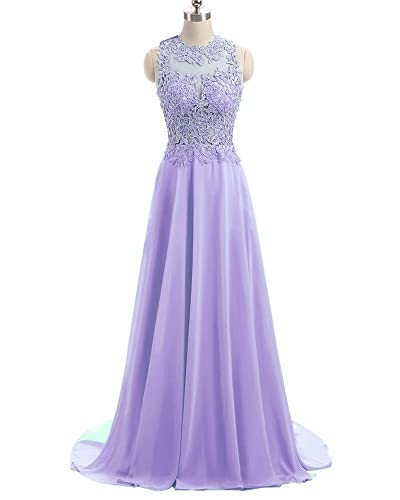 MH Gorgeous A-Line Lace Prom Dress Open Back Beading Evening Gown LS137