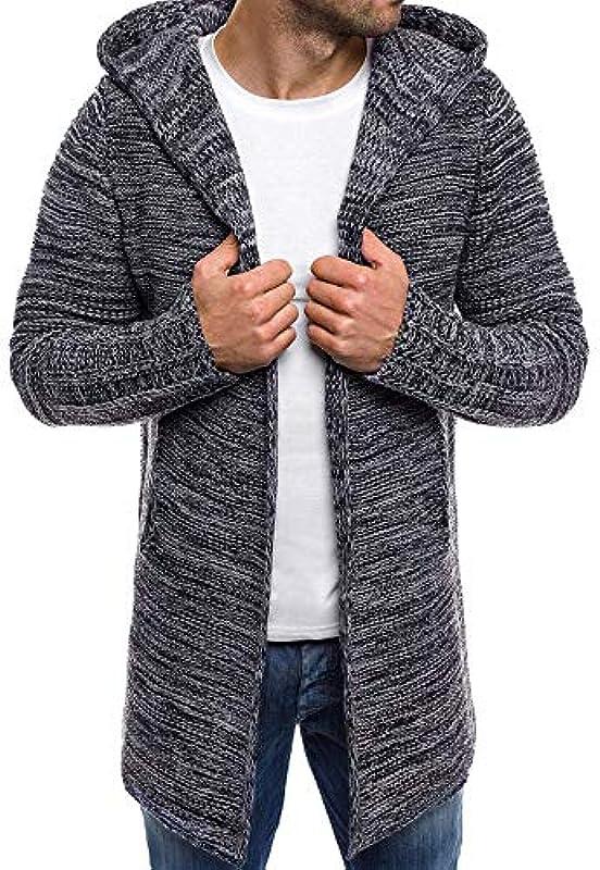 TTJQ Męska bluza z kapturem, kardigan, długa kurtka z dzianiny, sweter z dzianiny, sweter z dzianiny, sweter z kapturem, płaszcz, kurtka, wielokolorowa i wiele rozmiarÓw: Odzież