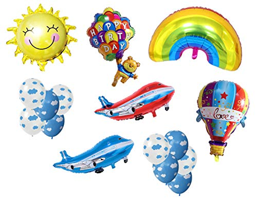 Pack of 16 Assorted Flying Plane Theme Balloons Aluminum Foil Latex Balloons Includes Planes Sun Rainbow Fire Balloon Flying Bear Clouds for Kids Birthday Party Supplies Decoration