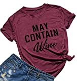 FAYALEQ May Contain Wine Funny T-Shirt Women's Letter Print Casual Tee Short Sleeve Tops Size M (Burgundy)