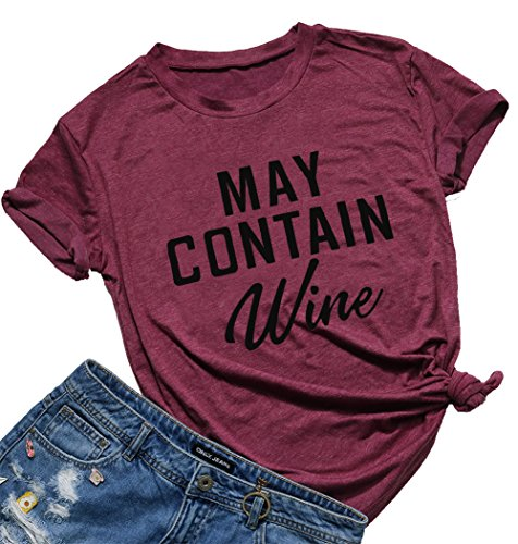 May Contain Wine Funny T-Shirt Women's Letter Print Casual Tee Short Sleeve Tops Size L (Burgundy)
