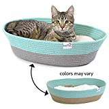 wicker pet bed Kitty City Cotton Rope Woven Cat Bed, Cat House- Colors may vary