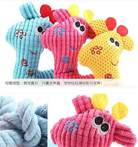 chongwan 1 Pcs Squeaky Pet Dog Toys Deer Style Dog Chew Toys Teddy Dog Plush Toy Dolls Small Toys 3 Color for Choose